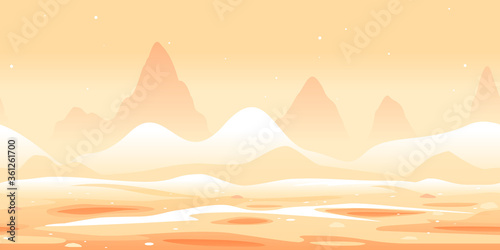 Martian sand dunes and yellow hills game background tillable horizontally, orang Canvas Print