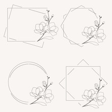 Doodle Line Art Magnolia Blooming Flower Minimal Frame For Banner Or Logo Collection