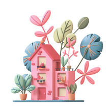 Cute Pink Cozy Eco House With Yellow Windows, Red Door Stands On Green Lawn With Colorful Leaves. Home With Cat On Balcony, Bird On Roof, Potted Plants On Terrace. 3d Render Isolated On White Backdrop