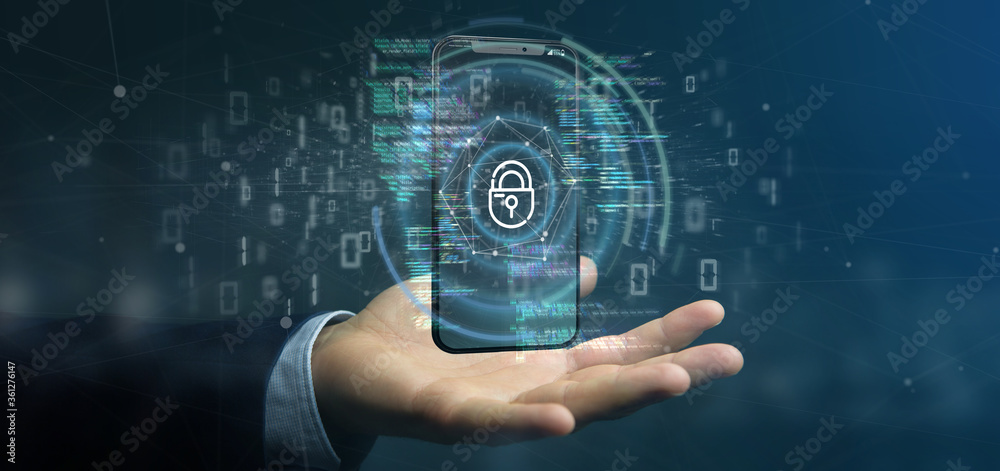 Fototapeta Businessman holding Security data and smartphone security - 3d rendering