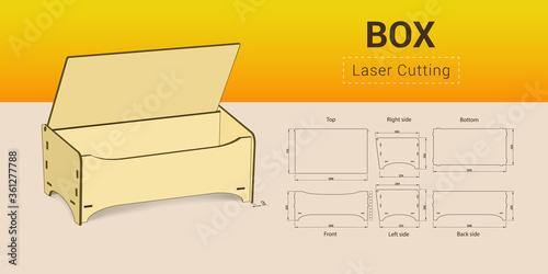 Obraz na plátně Cnc. laser cutting box. No glue. Vector illustration.