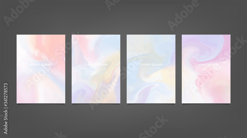Fototapeta Big set of bright vector colorful watercolor on vertical black background for brochure poster or flyer obraz na płótnie