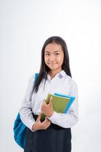 Beautiful Indonesian Junior High School Student Portrait Wearing Blue And White Uniform
