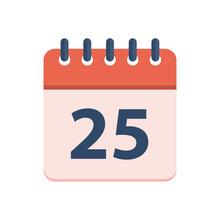 Red Calendar 25 December Vector Illustration Isolated On White Background. Flat Design Style.