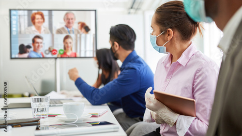 Obraz Conference call with video conference for business meeting - fototapety do salonu