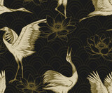 Seamless pattern with japanese cranes and lotuses. Hand drawn - 361290111