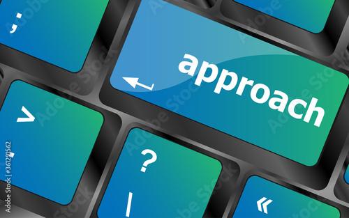 Fotografía Computer keyboard keys with approach word on it