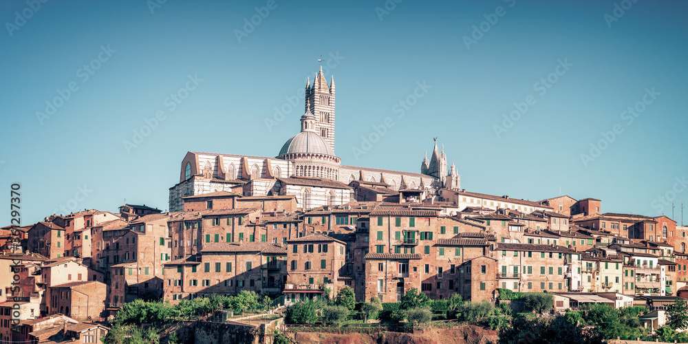 Cityscape of Siena view the Duomo (cathedral of Siena), Tuscany, Italy