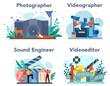 Video production, photography and sound engineering concept set.