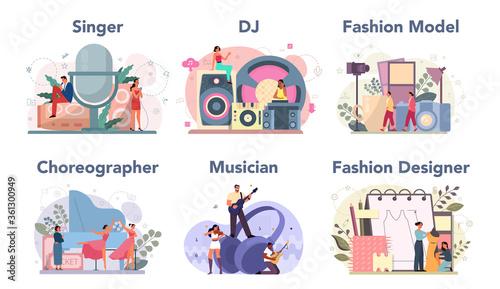 Creative occupation set. Fashion designer and dj at work, dancer