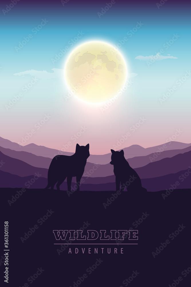 Fototapeta wildlife adventure wolf pack in the wilderness at full moon vector illustration EPS10