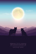 wildlife adventure wolf pack in the wilderness at full moon vector illustration EPS10