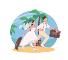 Just Married Couple Honeymoon 2D Vector Web Banner, Poster