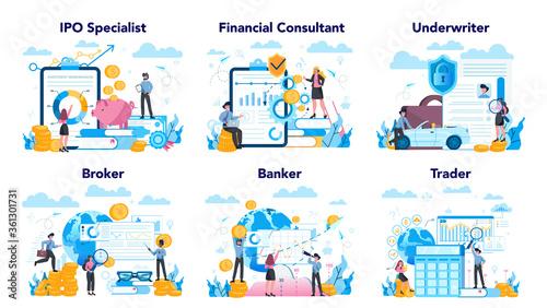 Fototapeta Stock market profession set. Idea of finance investment and financial obraz