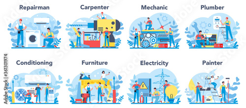 Fototapeta Household and renovation profession set. Home Master. Repairman, obraz