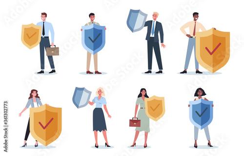 Fototapeta Business people wearing formal suit holding a shield set