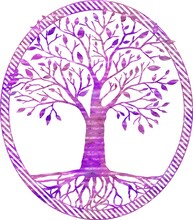 Illustration Of A Unique Design Of A Purple Tree Isolated On A White Background