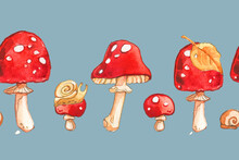 Amanita Fly Agaric Red Bright Forest Leaf Autumn Children Kids Cute Pattern Horizontal Border Small Textile Seamless