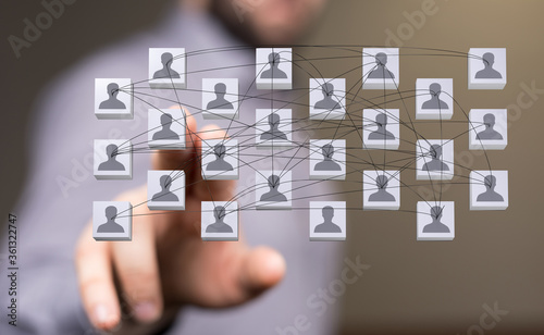 Fototapety, obrazy: organization chart team concept networking group