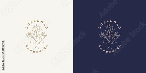 Vector line logos emblems design templates set - female gesture hand and rose fl Canvas Print