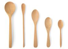 Top View Wooden Spoon Differen...