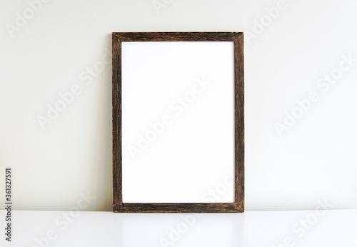 Rustic, vintage picture or photo frame mockup, vertical wooden sign, blank portrait frame Canvas