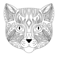 Cat Head Coloring Book Illustration. Antistress Coloring For Adults. Black And White Lines. Print For T-shirts And Coloring Books.