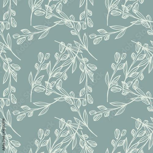 Fotografía Creative line art leaf seamless pattern on green background