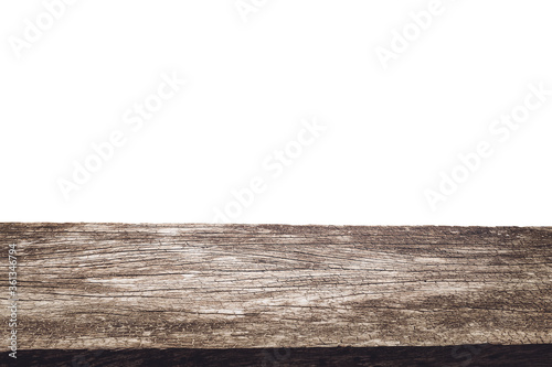 Empty old wooden table background isolate on white ,Ready used us display or mon Canvas Print