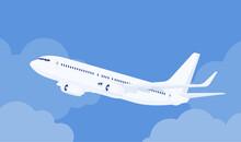 Passenger White Plane Taking O...