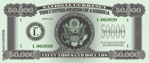 Cuadros en Lienzo Fictional US paper money with a face value of 50000 dollars