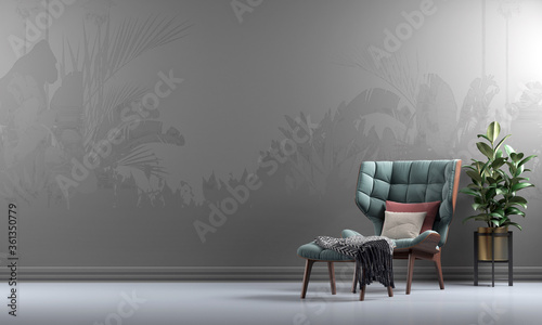 Mock up minimal lounge and living room interior background, natural pattern wall , 3d render
