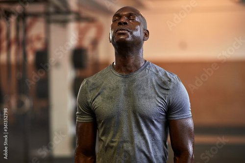 Fototapeta Fit young man sweating after a gym workout obraz