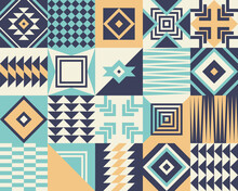 Geometric Pattern. Bauhaus Tribal Vector. Multicolored Seamless Background For Summer Shorts, Swimsuit, Top, Wallpaper, Or Other Modern Textile Or Paper Print. Blue, Yellow, Off White.