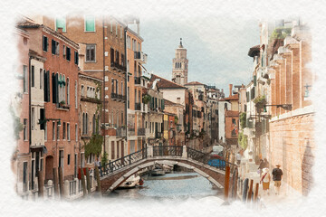 Fototapeta Mosty Watercolors of narrow canal in Venice with parked boats, Italy