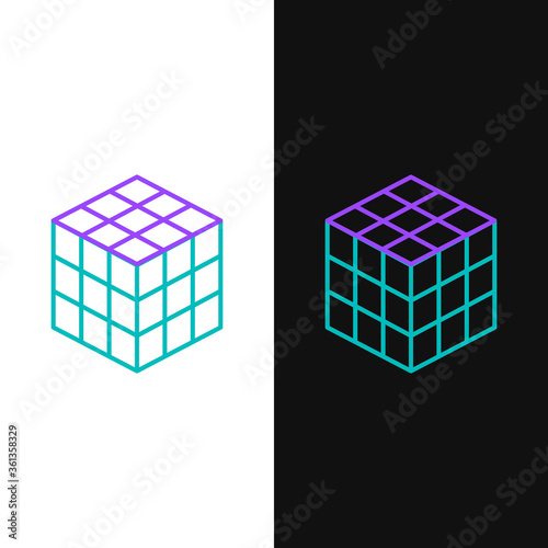 Line Rubik cube icon isolated on white and black background Fototapete