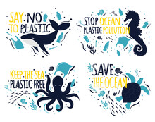 Save The Ocean. Ecology Sticke...