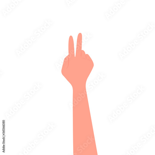 Tablou Canvas Hand gesture, two fingers up, peace