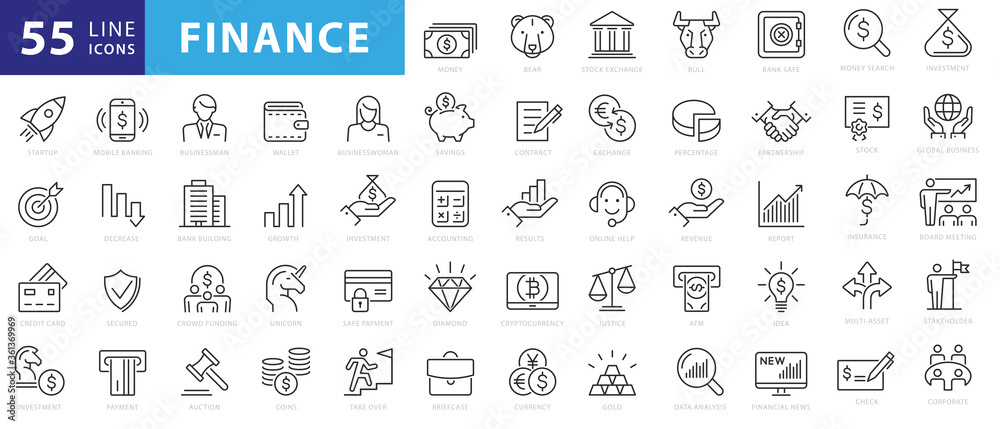 Fototapeta Vector business and finance editable stroke line icon set with money, bank, check, law, auction, exchance, payment, wallet, deposit, piggy, calculator, web and more isolated outline thin symbol