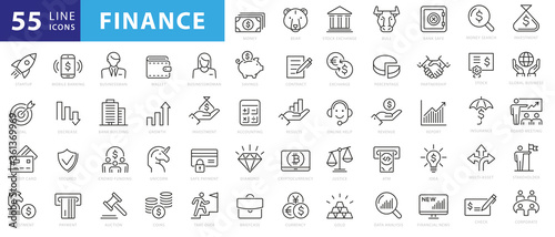 Obraz Vector business and finance editable stroke line icon set with money, bank, check, law, auction, exchance, payment, wallet, deposit, piggy, calculator, web and more isolated outline thin symbol - fototapety do salonu