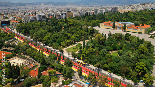 Aerial drone photo of new renovated Vasilissis Olgas avenue pedestrian walk way part of new long walk of Athens centre in front of historical Zappeion hall, Attica, Greece © aerial-drone