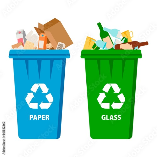 Fototapety, obrazy: Trash in garbage cans with sorted garbage vector icons. Recycling garbage and recycled isolated on white background. Set of garbage.
