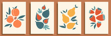 Abstract Still Life In Pastel Colors Poster. Collection Of Contemporary Art. Abstract Paper Cut Elements, Fruits And Berries For Social Media, Postcards, Print. Hand Drawn Pear, Peach, Fig, Strawberry