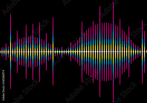 Photo Sound wave vector isolated on black background