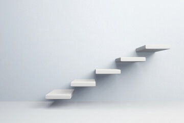 White stair step to growth success, 3d render, progress way and forward achievement creative concept