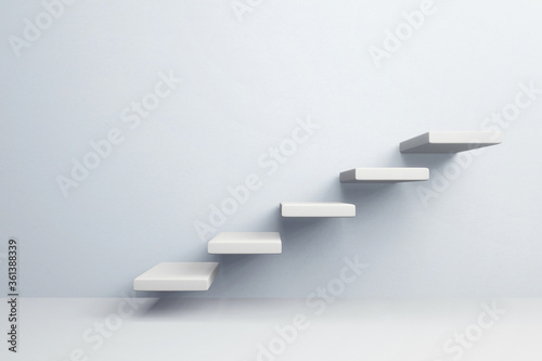 White stair step to growth success, 3d render, progress way and forward achievem Wallpaper Mural