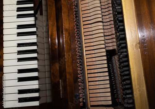 Fototapeta pianino makro wnętrze obraz