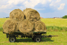 Straw On A Cart. In The Countr...