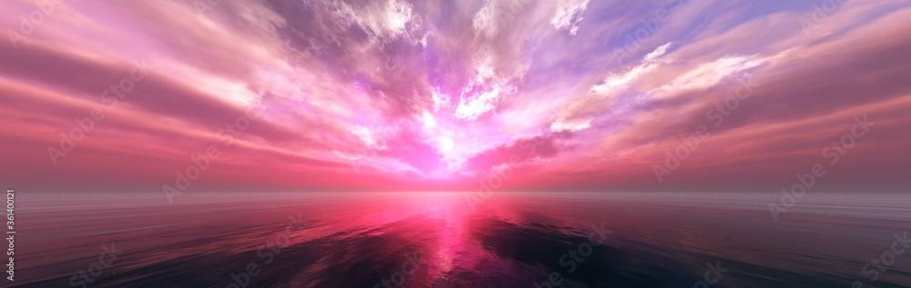 Fototapeta Beautiful sunset at sea, tropical sunrise, panorama of sea sunset, 3D rendering