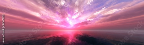 Beautiful sunset at sea, tropical sunrise, panorama of sea sunset, 3D rendering